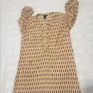 🧩H&M Tribal Print Golden Quarter Sleeve Dress